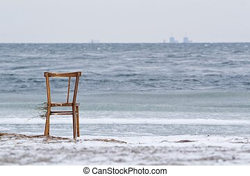 Chair washed ashore and Barsebäck in the background - Chair...