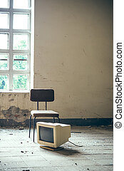 Chair with a screen in factory