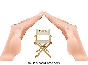 chair with writing director - hands in the shape of the roof...