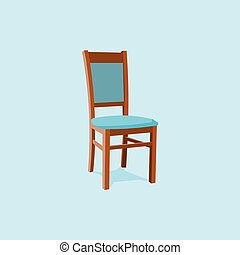 Chair wood classic detailed single object realistic design . Isolated on blue background. 3d Vector illustration