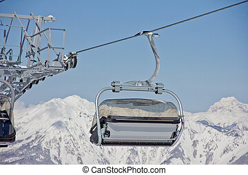 Chairlift in a ski resort ( Sochi, Russia )