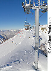 Chairlift in a ski resort. Sochi, Russia