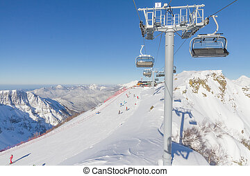 Chairlift in a ski resort. Sochi, Russia