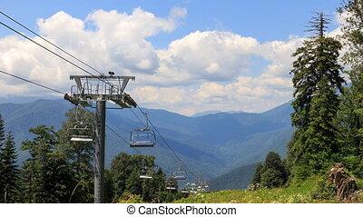 Chairlift. TimeLapse. Plateau Laura, Sochi, Russia. UltraHD...