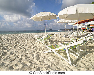 Chairs and parasols on the beach