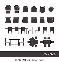 chairs and table icon - Set chairs and table silhouette...