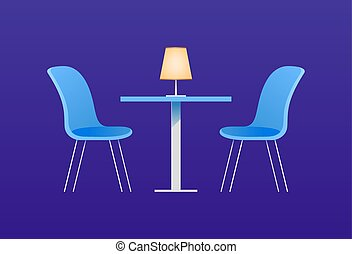 Chairs and table in cafe