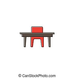 Chairs and table vector icon symbol isolated on white background