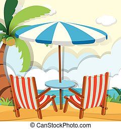 Chairs and umbrella on the beach