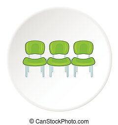 Chairs at airport icon, cartoon style
