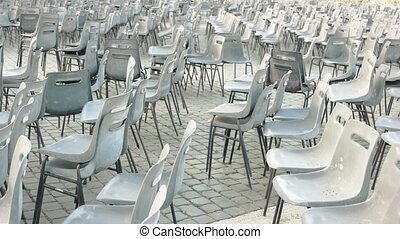 Chairs at Saint Peter square. Empty chairs outdoor.