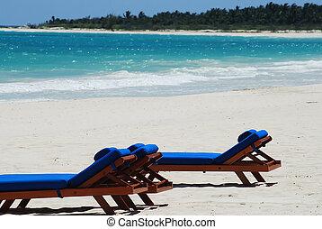 chairs - beautiful caribbean beach