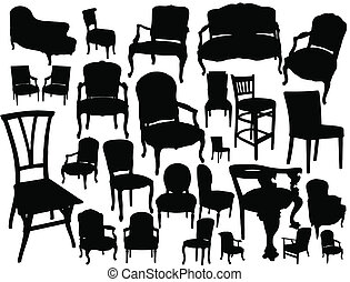 Chairs collection - big collection of chairs - vector...