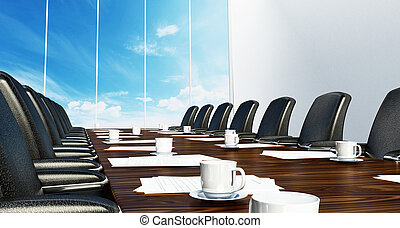 chairs., cuir, illustration, noir, salle réunion, table, 3d