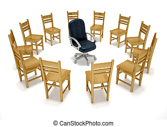 Chairs in circle - this is a 3d render illustration