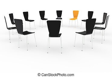 Chairs in a circle. Front view. Black and Orange