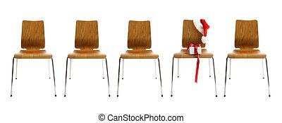 Chairs in a row with gift on white