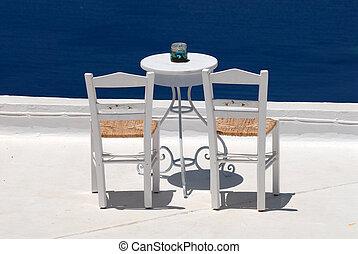 Chairs in Santorini, Greece