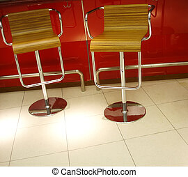 Chairs made of wood and steel