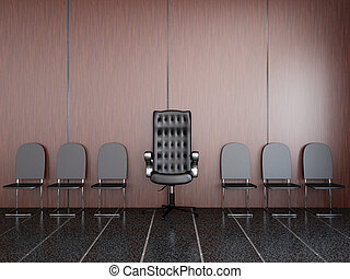 Chairs near a wall in a lobby
