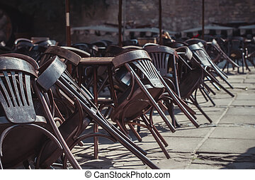 chairs near the closed cafe