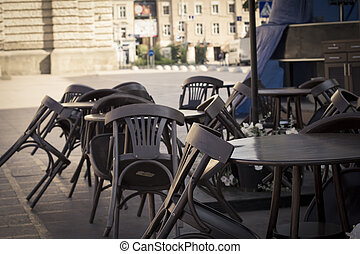 chairs near the summer cafe