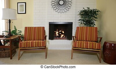 Chairs next to fireplace
