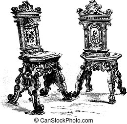 Chairs of the beginning of the seventeenth century, vintage engraved illustration. Magasin Pittoresque 1867.