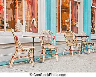 Chairs on a sidewalk