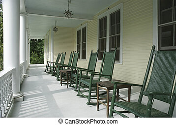 Swell Rocking Chairs On Porch Of Brick Casino White Rocking Bralicious Painted Fabric Chair Ideas Braliciousco