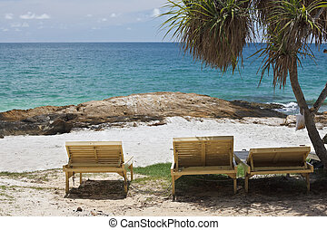 Chairs on the beach.
