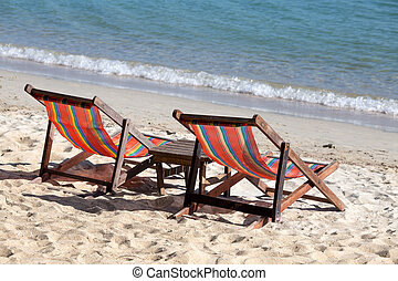 Chairs on the beach - Empty two chairs on the beach in...