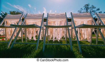 Chairs on the wedding ceremony, dolly shot