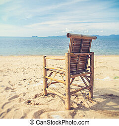 chairs on tropical beach (Vintage filter effect used)
