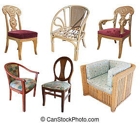 chairs on white with clipping path - set of wooden chairs....