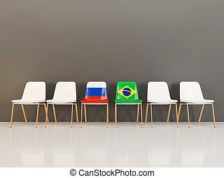 Chairs with flag of Russia and brazil