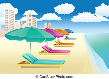 chairs with unbrellas on the beach