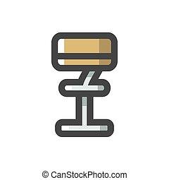 chaise, étagère, vecteur, dessin animé, siège, barre, illustration