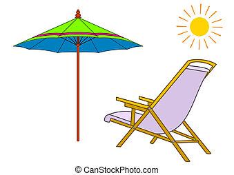 chaise, 太陽, ビーチパラソル, ラウンジ