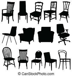 chaise, art, vecteur, illustration, dans, noir, couleur