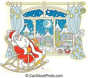 chaise, balancer, claus, fenêtre, santa