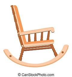chaise, balancer, style, illustration, plat