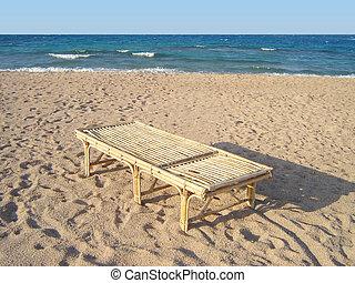chaise, bambu, praia, longue