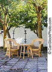 chaise, banc, porche