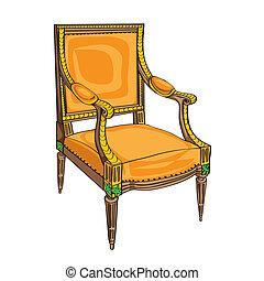 chaise, blanc, classique