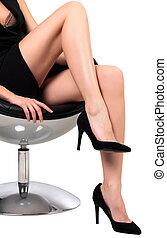 chaise, blanc, jambes, fond, long, isolé, séance, femme