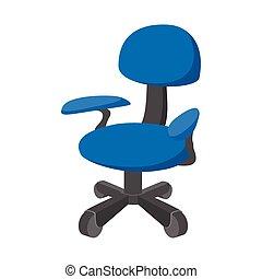 chaise bleue, dessin animé, bureau, icône