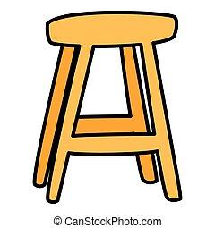 chaise bois, isolé, icône