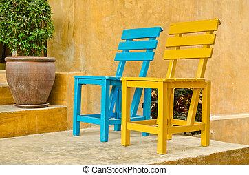 chaise, bois, jardin