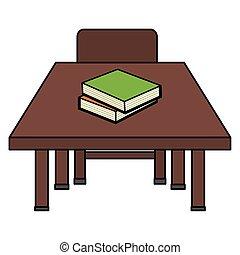 chaise bois, livres, schooldesk